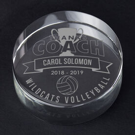 Volleyball Personalized Engraved Crystal Gift - Thanks Coach Banner
