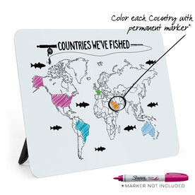 Fly Fishing Desk Art - Countries We've Fished Outline