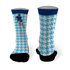 Hockey Printed Mid Calf Socks Hockey Silhouette with Houndstooth Pattern