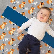 Soccer Baby Blanket - Soccer Fox Pattern