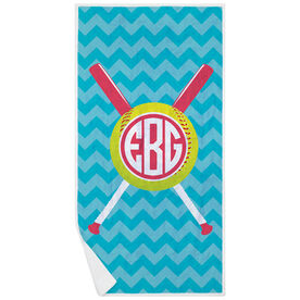 Softball Premium Beach Towel - Monogrammed with Crossed Bats and Chevron