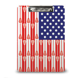 Guys Lacrosse Custom Clipboard USA Lacrosse Stick Flag