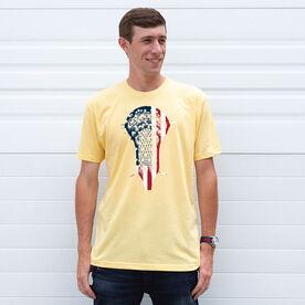 Guys Lacrosse Short Sleeve T-Shirt - Patriotic Stick