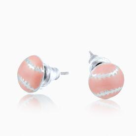 Softball Enamel Post Earrings - Pink