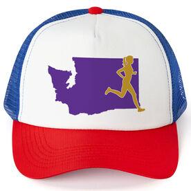 Running Trucker Hat - Washington Female Runner