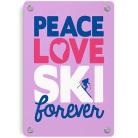 Skiing Metal Wall Art Panel - Peace Love Ski Forever