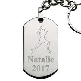 Running Female Engraved Stainless Steel Dog Tag Keychain