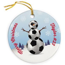 Soccer Porcelain Ornament Snowman