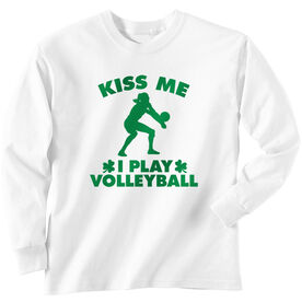 Volleyball Tshirt Long Sleeve Kiss Me I Play Volleyball