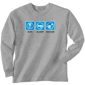 Soccer Tshirt Long Sleeve Eat Sleep Soccer