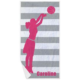 Basketball Premium Beach Towel - Stripes with Girl Silhouette