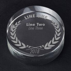 Crew Personalized Engraved Crystal Gift - Custom Laurel Wreath