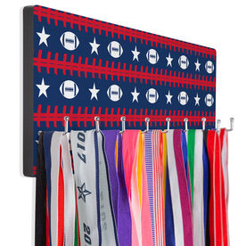 Football Hooked on Medals Hanger - Patriotic Pattern