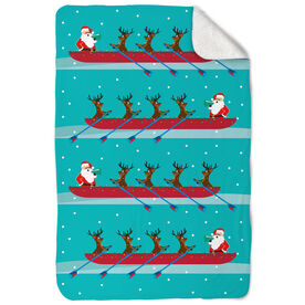 Crew Sherpa Fleece Blanket - Crew Reindeer And Santa Pattern