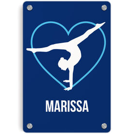 Gymnastics Metal Wall Art Panel - Personalized Heart