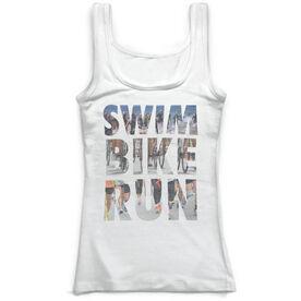 Triathlon Vintage Fitted Tank Top - Swim Bike Run Photo Words