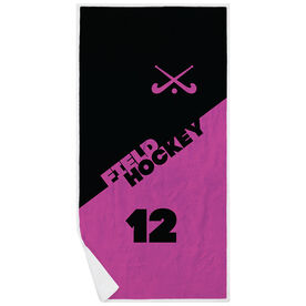 Field Hockey Premium Beach Towel - Personalized Crossed Sticks Color Block