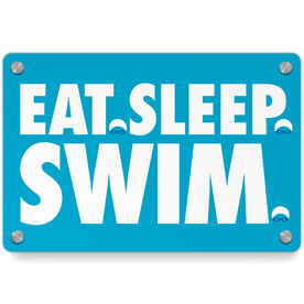 Swimming Metal Wall Art Panel - Eat Sleep Swim