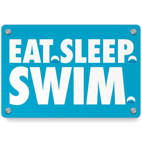 Swimming Metal Wall Art Panel - Eat Sleep Swim