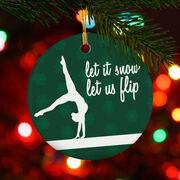 Gymnastics Porcelain Ornament Let It Snow, Let Us Flip