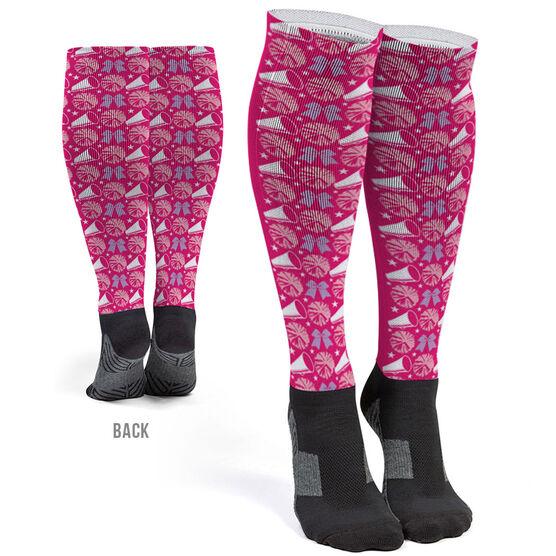 Cheerleading Printed Knee-High Socks - Cheerleading Pattern