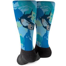 Fly Fishing Printed Mid-Calf Socks - Watercolor Tarpon