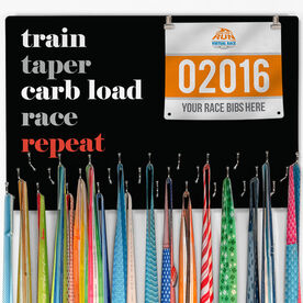 Running Large Hooked on Medals and Bib Hanger - Run Mantra (Repeat)