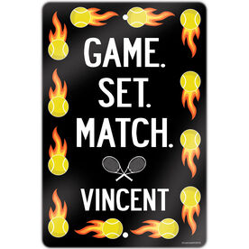 """Tennis Aluminum Room Sign Personalized Tennis Game Set Match (18"""" X 12"""")"""