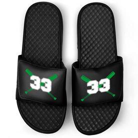 Baseball Black Slide Sandals - Crossed Bats with Numbers