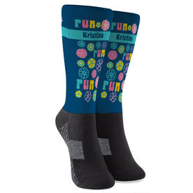 Running Printed Mid-Calf Socks - Run Flower Power (Your Name)