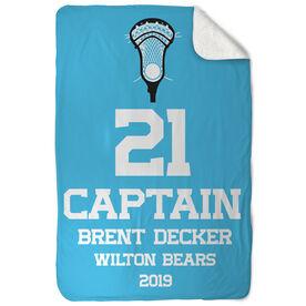 Guys Lacrosse Sherpa Fleece Blanket - Personalized Captain
