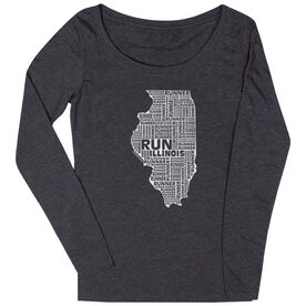 Women's Scoop Neck Long Sleeve Runners Tee Illinois State Runner