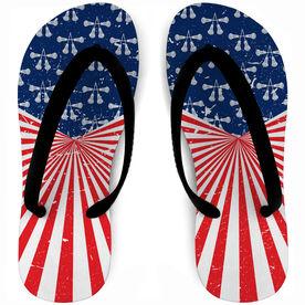 Guys Lacrosse Flip Flops American Pride
