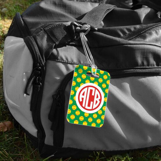 Softball Bag/Luggage Tag - Personalized Softball Pattern Monogram
