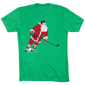 Hockey T-Shirt Short Sleeve Slap Shot Santa