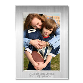 Engraved Football Frame Silver 4 x 6 with Football Icon