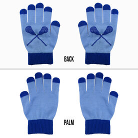 Lacrosse Touchscreen Knit Gloves - Carolina Blue/Blue