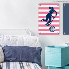 "Field Hockey 18"" X 12"" Aluminum Room Sign - Shootout Stripes With Monogram"