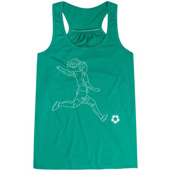 Soccer Flowy Racerback Tank Top - Soccer Girl Player Sketch