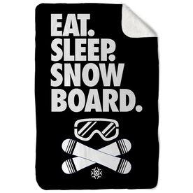 Snowboarding Sherpa Fleece Blanket - Eat. Sleep. Snowboard. Vertical