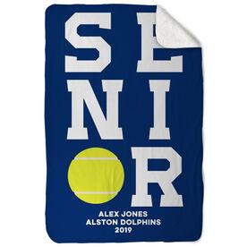 Tennis Sherpa Fleece Blanket - Personalized Senior