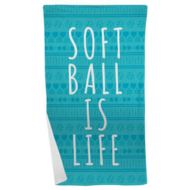 Softball Beach Towel Softball Is Life Aztec