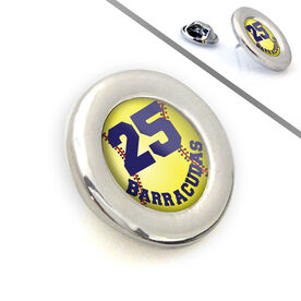 Softball Lapel Pin Team Name and Number Stitched Softball