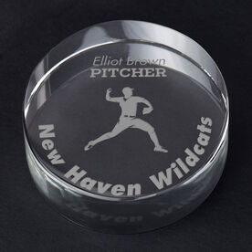 Baseball Personalized Engraved Crystal Gift - Player Silhouette with Custom Text (Pitcher)