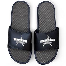 Softball Navy Slide Sandals - Your Team Name