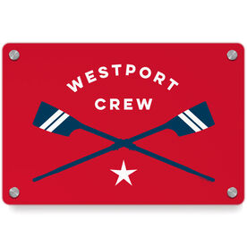 Crew Metal Wall Art Panel - Personalized Crossed Oars