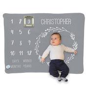 Personalized Baby Blanket - Month Milestones Blanket