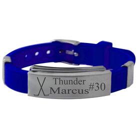 Personalized Hockey Crossed Sticks Silicone Bracelet
