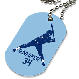 Softball Printed Dog Tag Necklace Personalized Softball Batter
