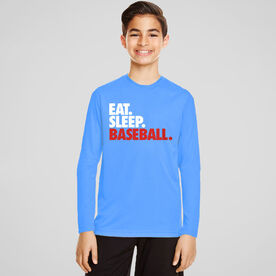 Baseball Long Sleeve Performance Tee - Eat. Sleep. Baseball.